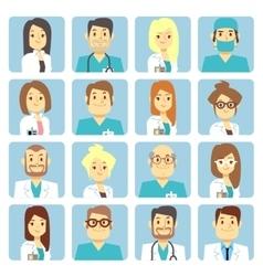 Doctor and nurse flat avatars vector image