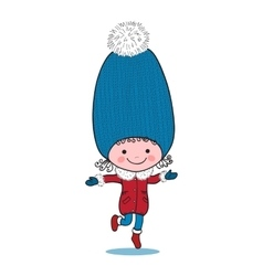 Little running girl in big winter knitted cap vector image vector image