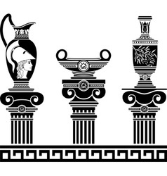 set of hellenic vases and ionic columns stencils vector image vector image