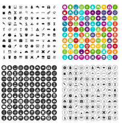 100 microscope icons set variant vector image