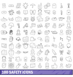 100 safety icons set outline style vector image