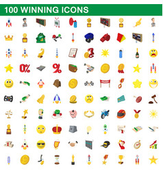 100 winning icons set cartoon style vector