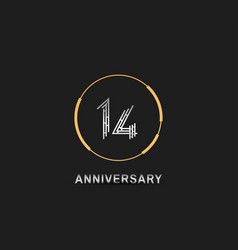 14 anniversary logotype with silver number vector
