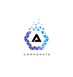 a blue hexagon letter logo with triangles vector image