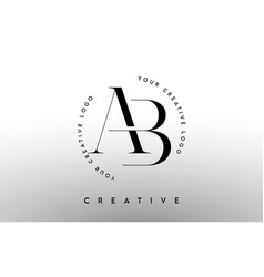 Ab letter logo design with serif typography font vector