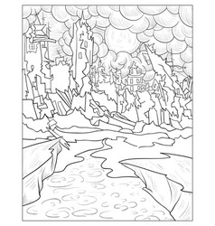 adult coloring bookpage a city panorama image for vector image