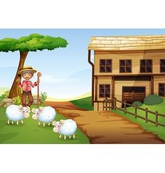 An old man at farm with three sheeps vector
