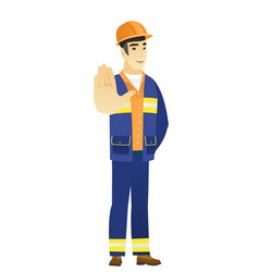 asian builder showing palm hand vector image