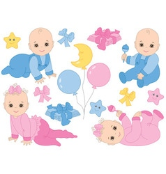 Baby Boy and Baby Girl Set vector