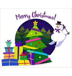 banner merry christmas paper ribbon on christmas vector image