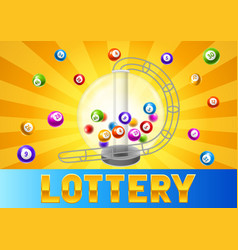 Bingo or lottery card with balls and lotto machine vector