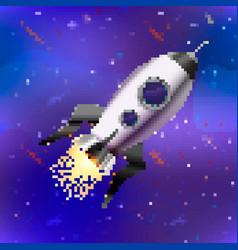bright spaceship cute rocket in pixel art style vector image