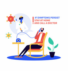 Call a doctor if unwell - flat design style vector