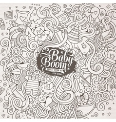 Cartoon cute doodles hand drawn Baby vector