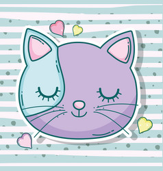cat head pet animal with hearts vector image