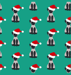 Cat in santa hat pattern vector