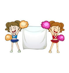 Cheerleaders with a sign vector