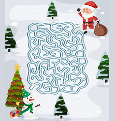 christmas maze puzzle game template vector image