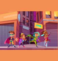 City children superheroes cartoon concept vector