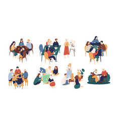 Collection of funny smiling people sitting at vector