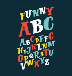 colorful brush alphabet vector image