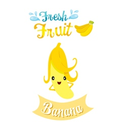 Cute Cartoon Of Banana Fruit Banner Logo vector