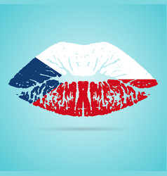 Czech republic flag lipstick on the lips isolated vector