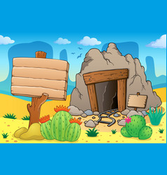 Desert with old mine theme 7 vector