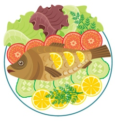 Dish with the baked fish vector