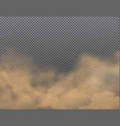Dust sand dirt clouds on transparent background vector