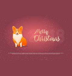 funny dog and merry christmas symbol of year vector image