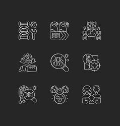 Genetics chalk white icons set on black background vector