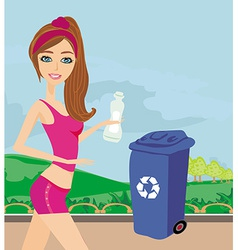 Girl recycling plastic bottles vector