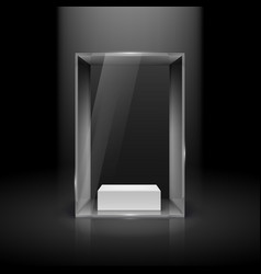 Glass showcase with spot light for presentation vector