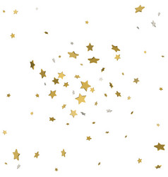 Gold flying stars confetti magic christmas frame vector