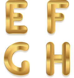 Golden alphabet Set of metallic 3d letters vector image
