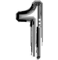 Grunge Font Number 1 vector