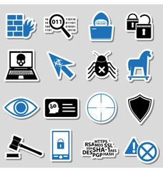 Hacker and computer security theme stickers set vector