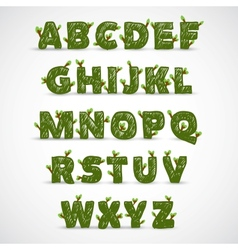 Handwritten ABC alphabet with leaf vector