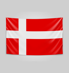 Hanging flag of denmark kingdom of denmark vector