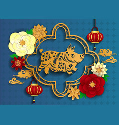 happy chinese new year 2019 pig poster from vector image