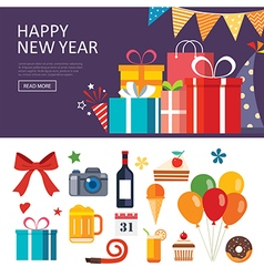 happy new year gift box banner flat design vector image