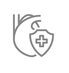 healthy protected heart line icon heart treatment vector image