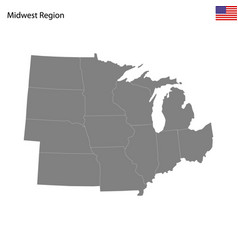 high quality map midwest region united vector image