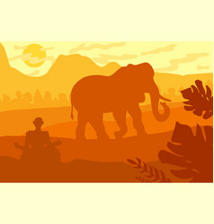 indian tropical landscape with elephant and monk vector image