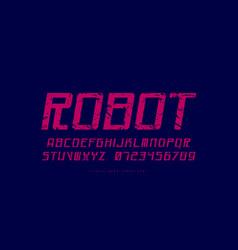 Italic sans serif font in cyber style vector