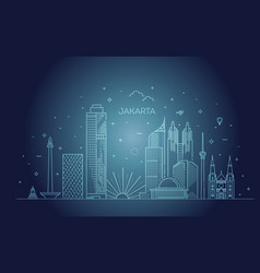 jakarta cityscape with landmarks indonesia vector image