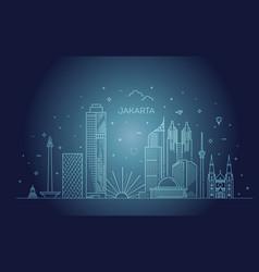 Jakarta cityscape with landmarks indonesia vector