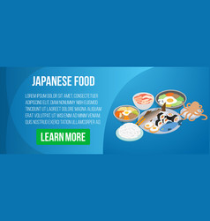 japanese food concept banner isometric style vector image