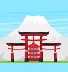 Japanese torii gate national symbol traditional vector